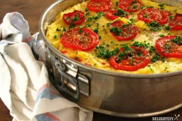 Recept na slaný koláč s polentou a ovčím syrom