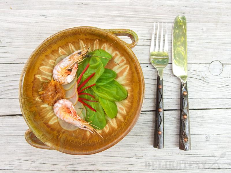 Krevety a cibuľové čatní