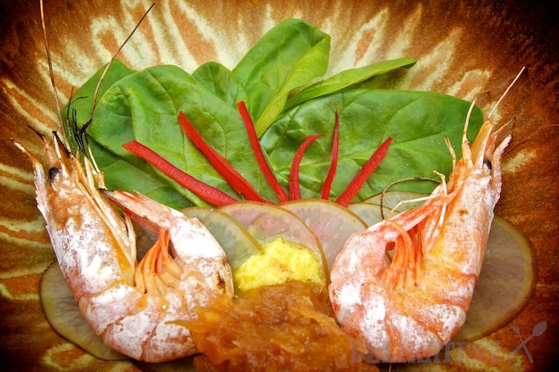 Grilované krevety s čatní